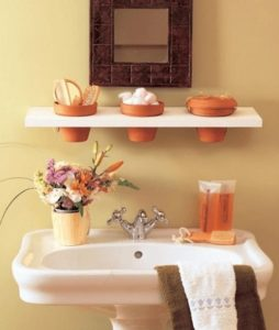 Clay pots in bathroom