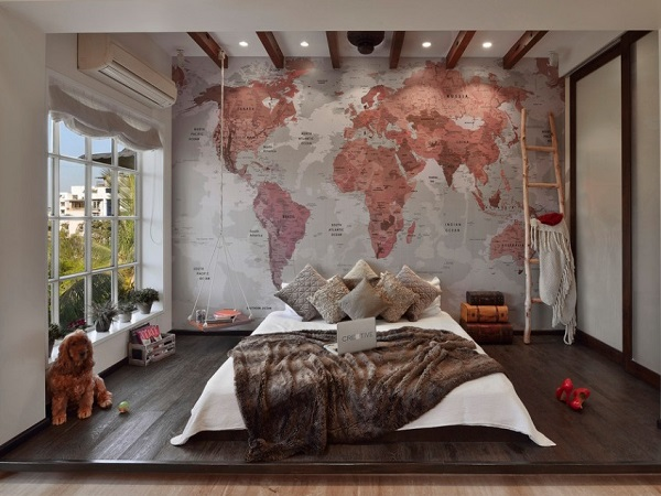 Beautiful world wallpaper for bedroom design