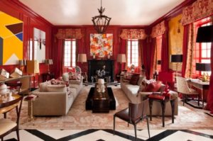 Red living room decorating, designing ideas