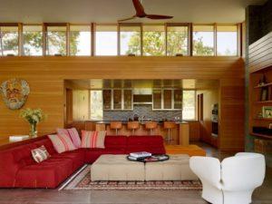 Red sofa set for living room interior decoration