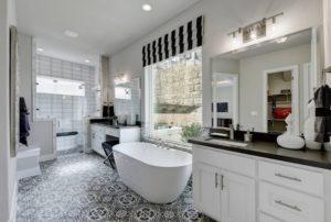 Black contrasts white bathroom design