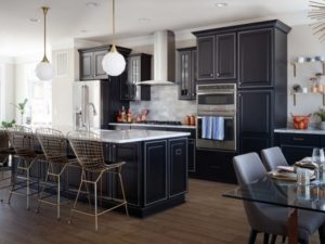Black kitchen interior design photo