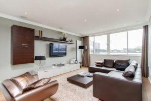 Brown living room interior design photo