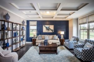 Blue living room design photo