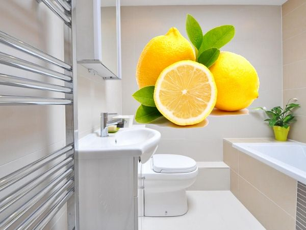 Clean bathroom with lemon and salt