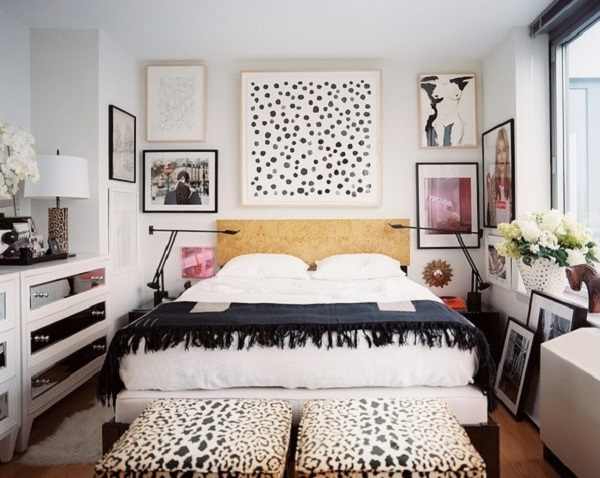 Bedroom with DIY Spotted Art above Bed