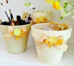 DIY Painted Clay Pots for Storage