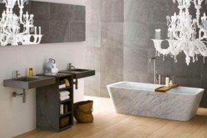Marble Bathtub in Wood Floor Bathroom