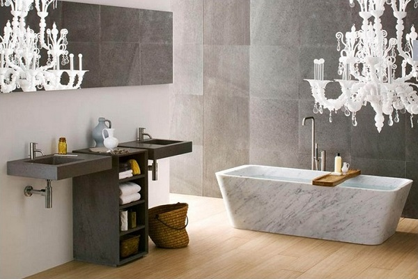 Marble Bathtub in Wood Floor Bathroom