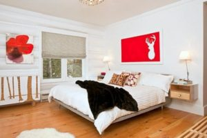White Bedroom with Red Accents