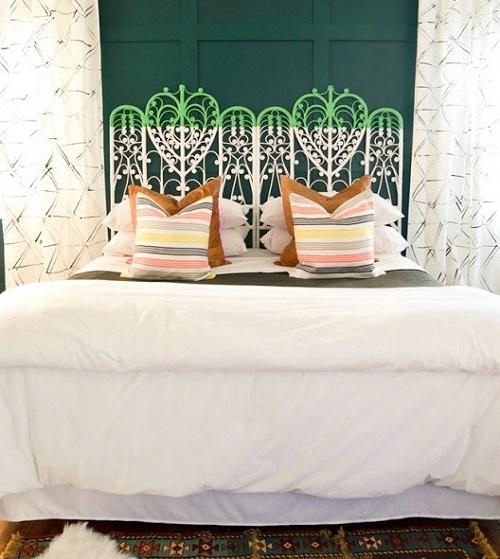 Bedroom with Dip Dye Vintage Peacock Headboard