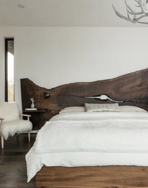 Bedroom with Natural Wood Slab Headboard Rustic Bedroom Design